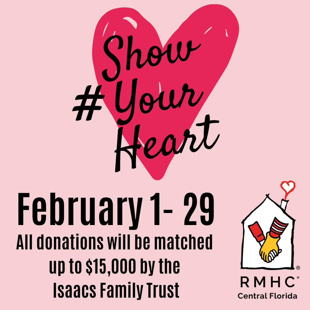 We are SO close to reaching our $30,000 goal for our #ShowYourHeart campaign! Every donation will be doubled by the Isaacs Family Trust! Donate today: http://bit.ly/RMHShowYourHeart…pic.twitter.com/2FoTv9tvUL