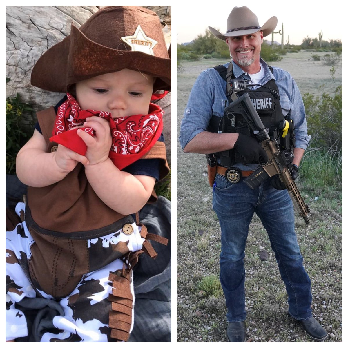 Okay, I am probably going to lose this one but who wore it better? My grandson Brody or me? I even added the gun to give me more of an even playing field with him. Hahaha!!  . #whoworeitbetter #meorhim #isayhim  #proudgrandpa #family #60DaysIn #sherifflamb #LivePD#LivePDWanted