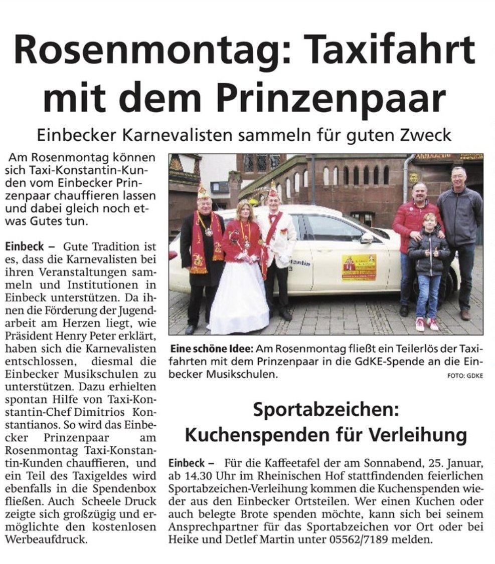 Schon mal vormerken  am Rosenmontag den 24.02.2020 einfach mal ein #Taxi bestellen und durch #Einbeck cruisenWir freuen uns  auf Euch  #prinzenpaar #helau #alaaf #prinz #taxi  #FünfteJahreszeit #Rosenmontag #Karneval  #guterzweck  #spendenaktion  #spendepic.twitter.com/aADiU7Riwq