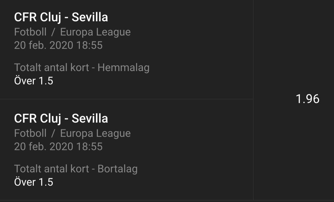 Cluj - Sevilla O1.5 cards each @ 1.96 (1u) Kambi (BetBuilder) <br>http://pic.twitter.com/jUt1gHT4MH