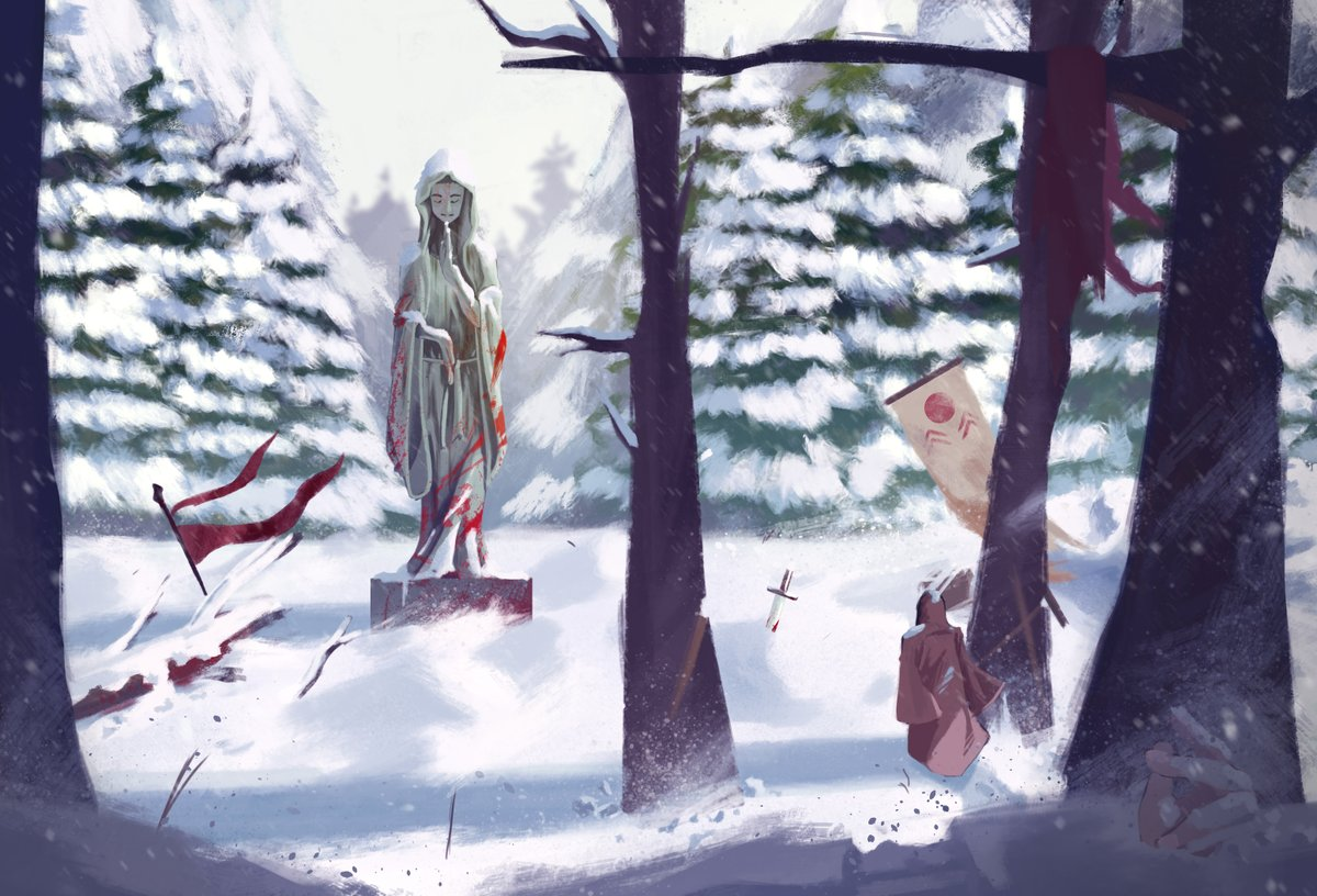 Really trying to paint an environment scene for the first time. I never knew that it would be this hard, I almost gave up on it...  #art #digitalart #painting #digitalpainting #snow #battlefield #war #winter #drawing #illustration #environment #wacom #photoshop #ArtistOnTwitter