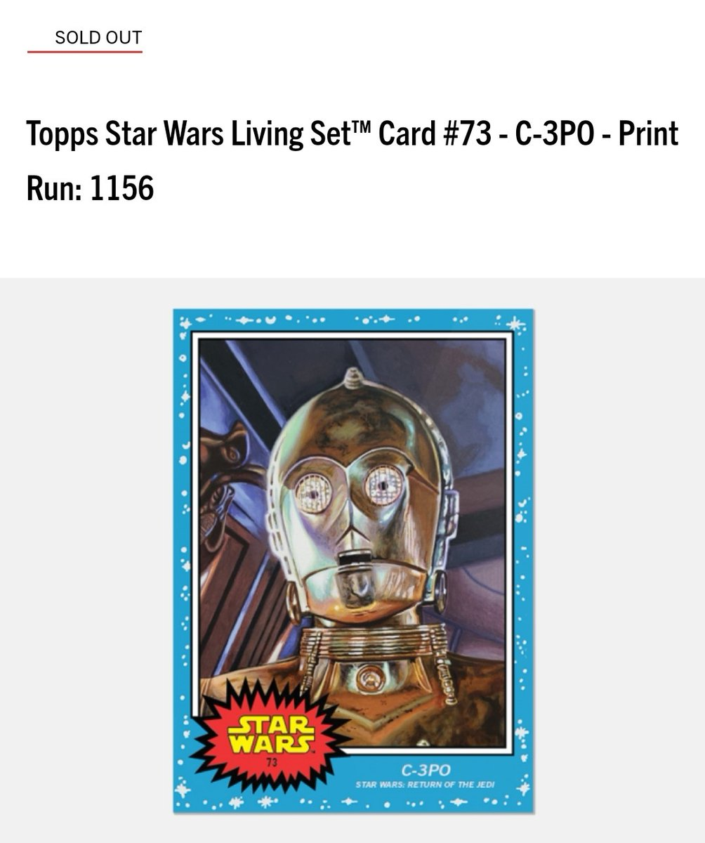 Print runs and rankings for Week 37 of the #ToppStarWarsLiving set  #73 C-3PO, Star Wars Return of the Jedi - 1,156 #74 Lady Proxima, Solo: A Star Wars Story - 959