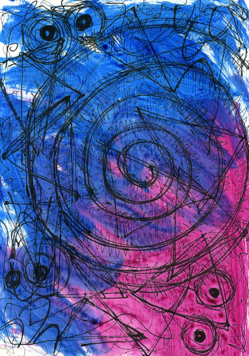 The Endless Waltz (February 2020), #ballpointpen and #acrylic on paper. #art #abstract #abstractart #abstractartist #painting #drawing #autism #autisticartist #autisticart #spectrumart #artistwithautism #artistwithdisability