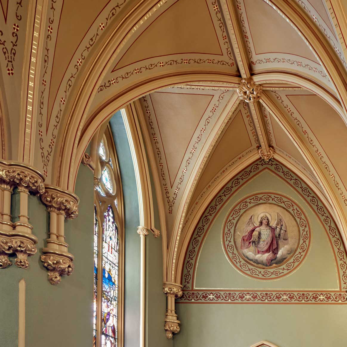 Earlier, we showed the stenciling that was uncovered during the investigation of historic finishes at St. Patrick's Church in Lowell, Massachusetts.  Take a look at this incredible photo of the church after the restoration project was complete!  #Decoration #Painting #Restoration