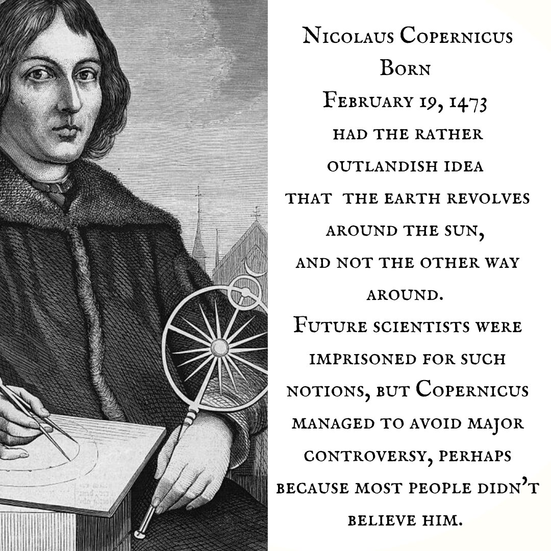 RESPECT!  Copernicus was an ethereal Pisces with Mars in forward-thinking Aquarius. Your full horoscopes is at  #heliocentric #science  #celebritybirthdays #bestoftheday #livethelittlethings #nothingisordinary #birthdays #instadaily #apollo #Pisces