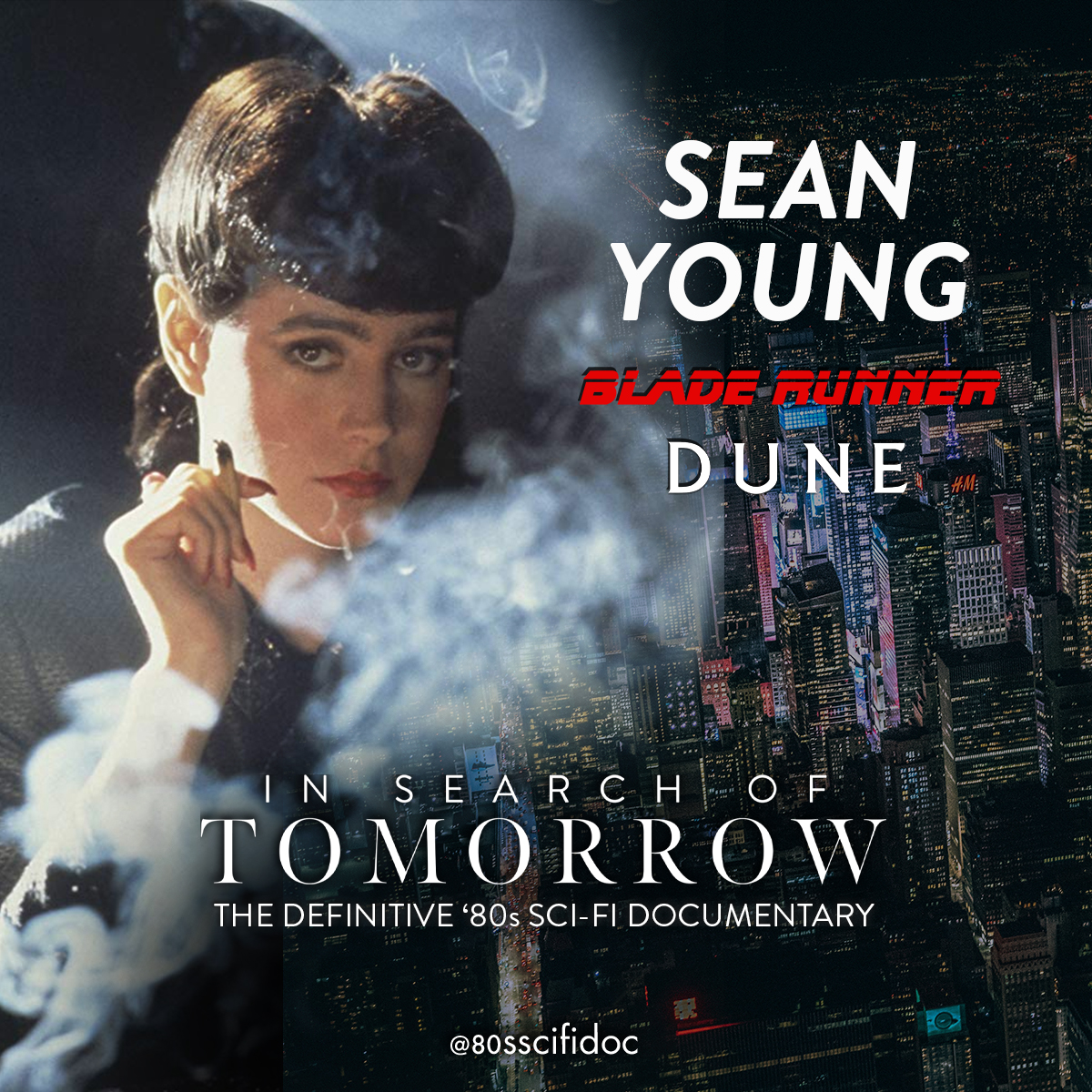 Sean Young, star of #BladeRunner and #DUNE, will be featured in the In Search of Tomorrow documentary. Join us to see her discuss being a part of these classic '80s Sci-Fi films. Follow @80sscifidoc for more. #80s #SciFi #movies #SeanYoungpic.twitter.com/uE7J0q7oh5