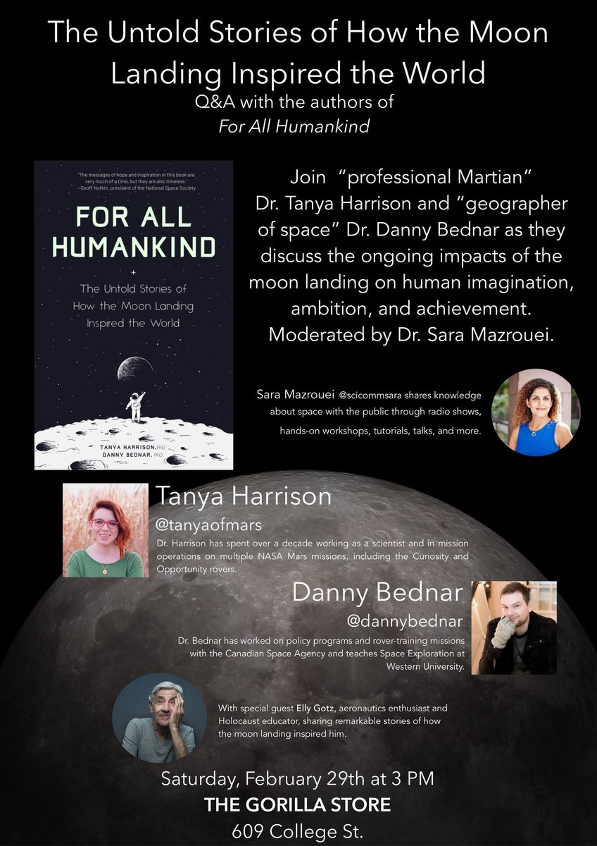 Join authors @tanyaofmars and @DannyBednar with special guest Elly Gotz for a discussion of how the Apollo 11 inspired generations of scientist around the world.  Moderated by @OntScienceCtr host @SciCommSara.  609 College, 3pm Feb 29pic.twitter.com/yYPDxT7wp0