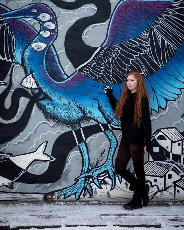 Loved the street art in Reykjavik. Stopped to admire this gorgeous piece and get a few shots by @jngiacomo . #travel #streetart #mural #reykjavikloves #iceland #photoshoot #redhair #crossfox #adventure #winter #snow
