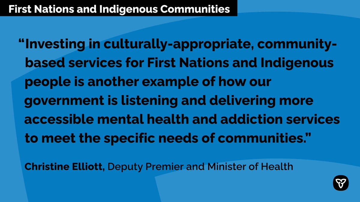 ICYMI: Ontario is investing in community-based and culturally appropriate #MentalHealth and addictions services provided by #FirstNations and #Indigenous organizations. http://news.ontario.ca/m/55812
