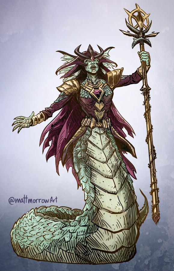 A #naga noble.  #dungeonsanddragons #dungeonsanddragonsart #dndart #adnd #dnd #fantasyart #fantasyillustration #creatureart #characterdesign #illustration #pathfinderrpg #rpg #rpgart #ttrpg #ttrpgart #mattmorrowart #commissionsopen