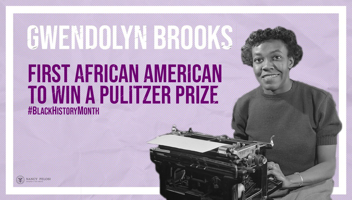 A gifted poet, Gwendolyn Brooks became the first African American to win a Pulitzer Prize. Breaking racial barriers within American literature, Brooks' distinguished artistry & influence helped open the doors to generations of black poets & artists. #BlackHistoryMonth