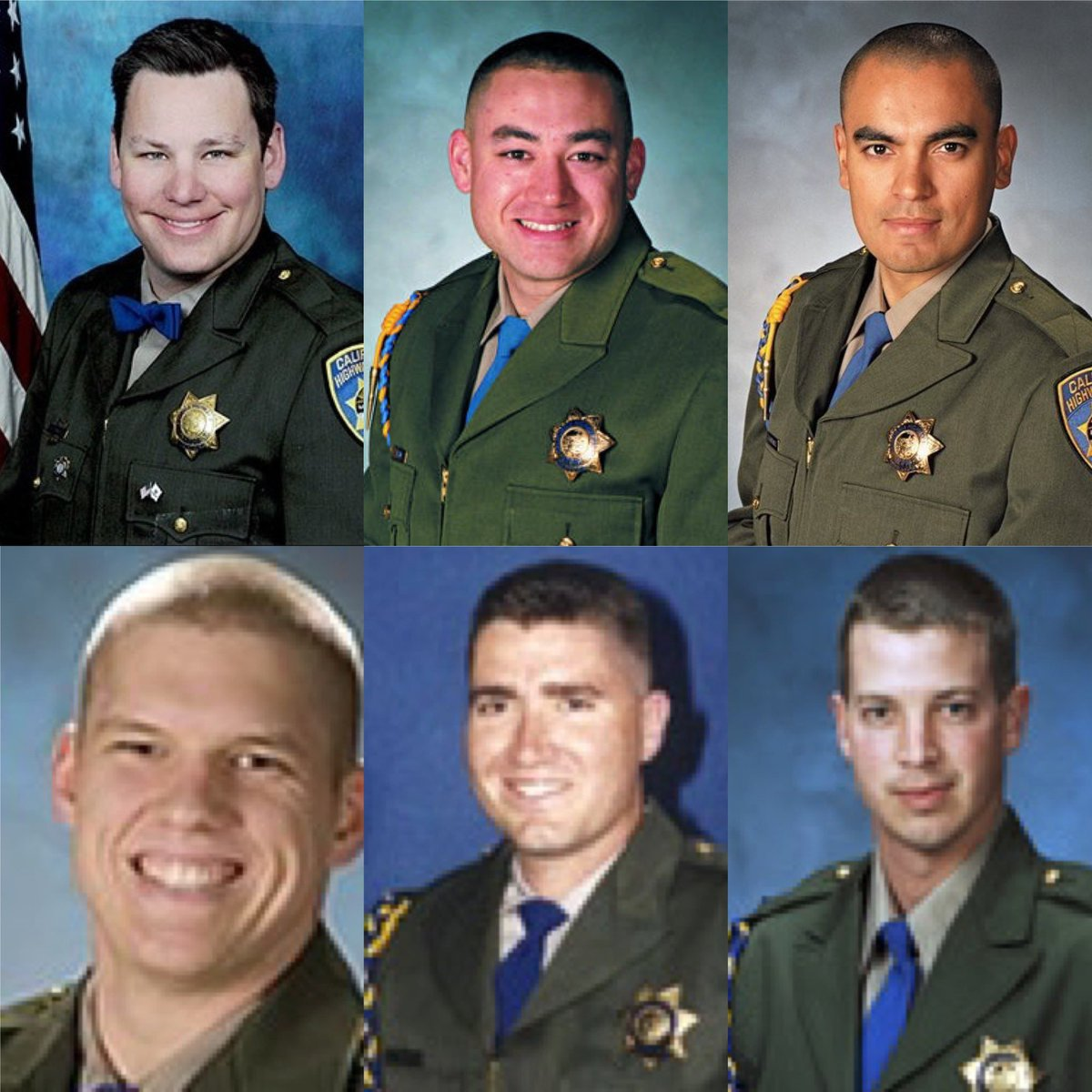 Everyday we honor and memorialize the life of our fallen officers. 🙏🏼The images of the posted officers have all fallen in the line of duty in the month of February. 🔵⚫️🔵⚫️🙏🏼🚔🚨 🇺🇸#californiahighwaypatrol #CHP #endofwatch #fountainceremony #eow #warriors #neverforgotten