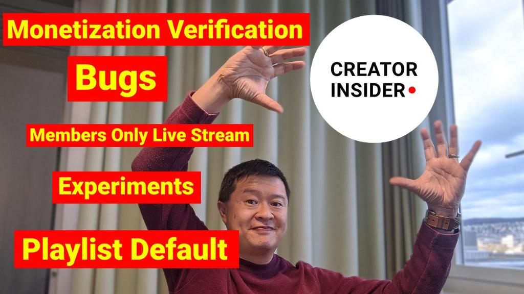 In this week's Creator Insider Newsflash, Tom talks: ⚡ Members-only live streams ⚡ Improvements to Studio ⚡ Monetization verification  And more! Watch now → https://youtu.be/XxY1ej_kAbk