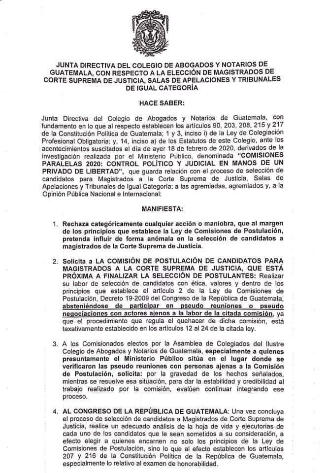 test Twitter Media - Pronunciamiento del CANG por lo documentado por la FECI en torno a las Comisiones de Postulación. https://t.co/IlqwFfk8MF