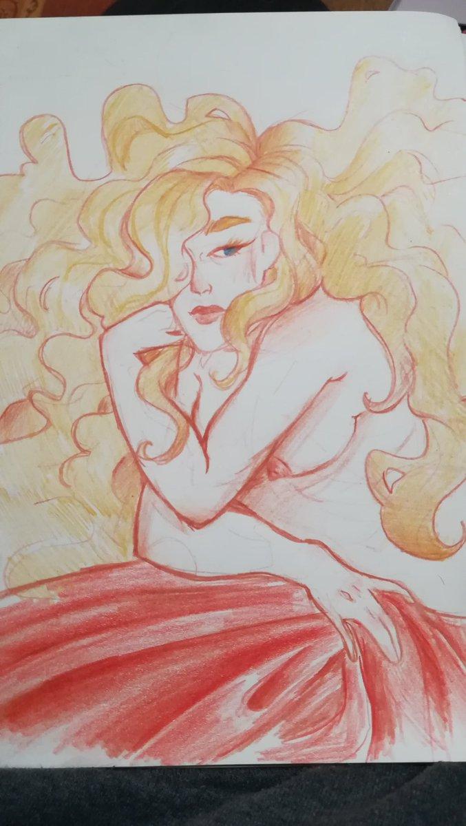J avais oublier de le poster... Mais voilà ! Illustration terminer. #illustration #nudity #blonde #art #watercolorpencils pic.twitter.com/JLuOixLrj1