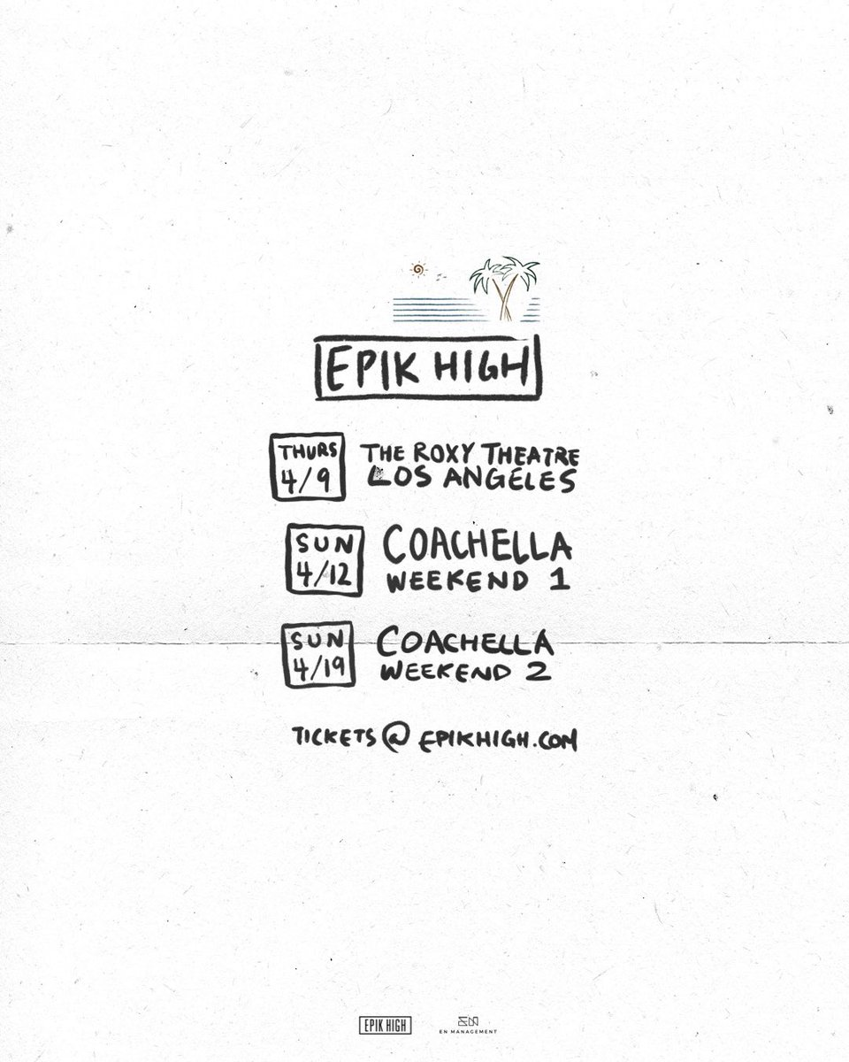 Epik High will be playing an intimate show at the legendary Roxy Theatre, 1 night only leading up to Coachella. Doors 8pm / Show 9pm. Tickets on sale Feb 28 (Noon PST) at epikhigh.com ⠀ RT for wealth & health ⠀ #epikhigh #에픽하이 #epikhigh2020 #coachella