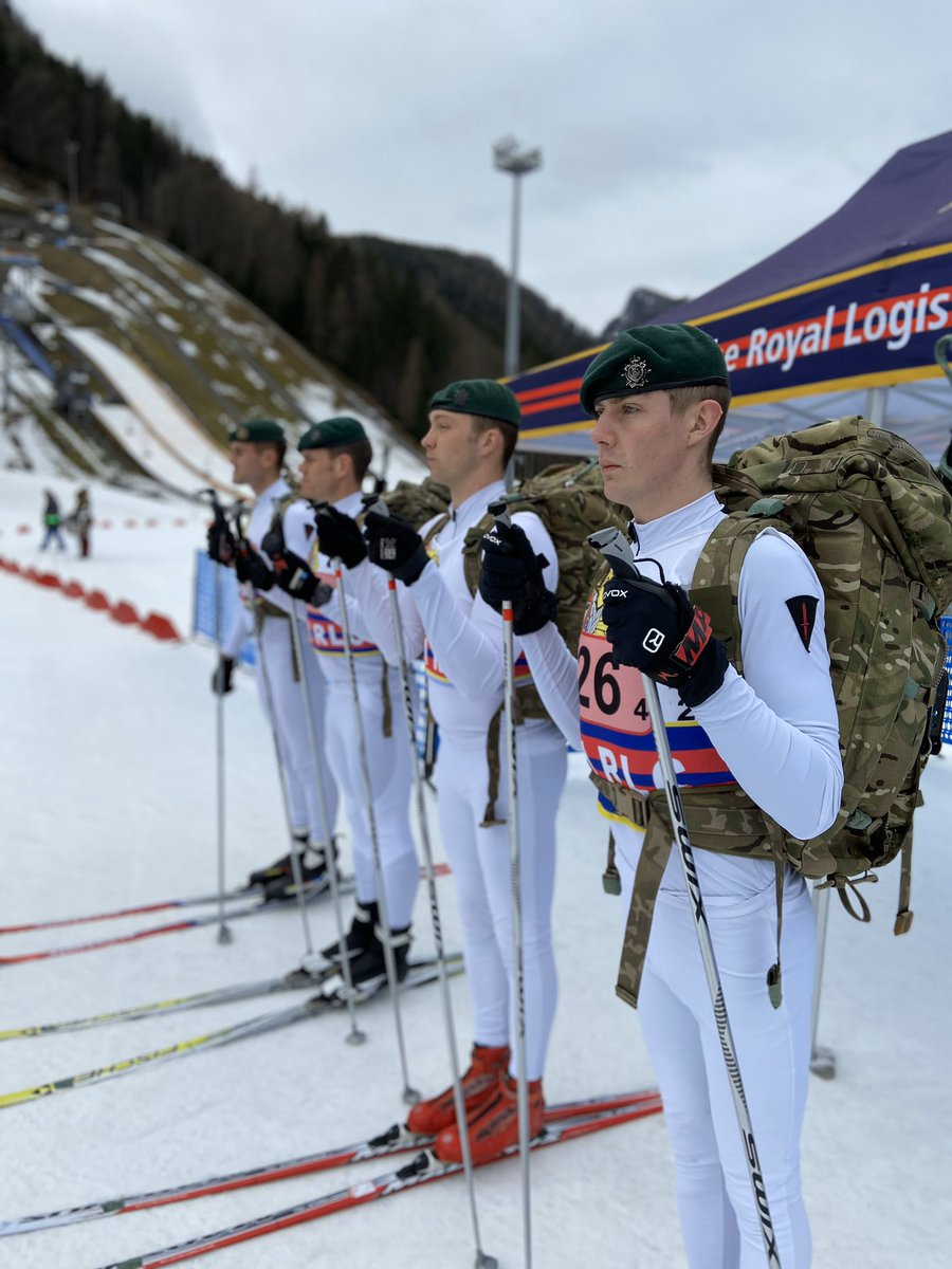 Patrol Race  A gruelling competition at the Chiemgau Arena today. After an inspection by the Corps Col and the President of RLC Winter Sports, the teams skied five laps of the Stadium, conducted firing and were challenged on Command Tasks. #SkiRLC20pic.twitter.com/yC3oJyuAGk