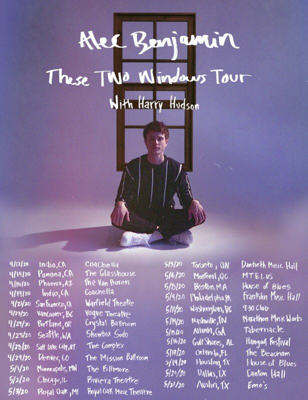 excited to announce that my friend Harry Hudson will be joining me on tour !! :) also added a special in Pomona, California :) . tix on sale now Alecbenjamin.com/tour
