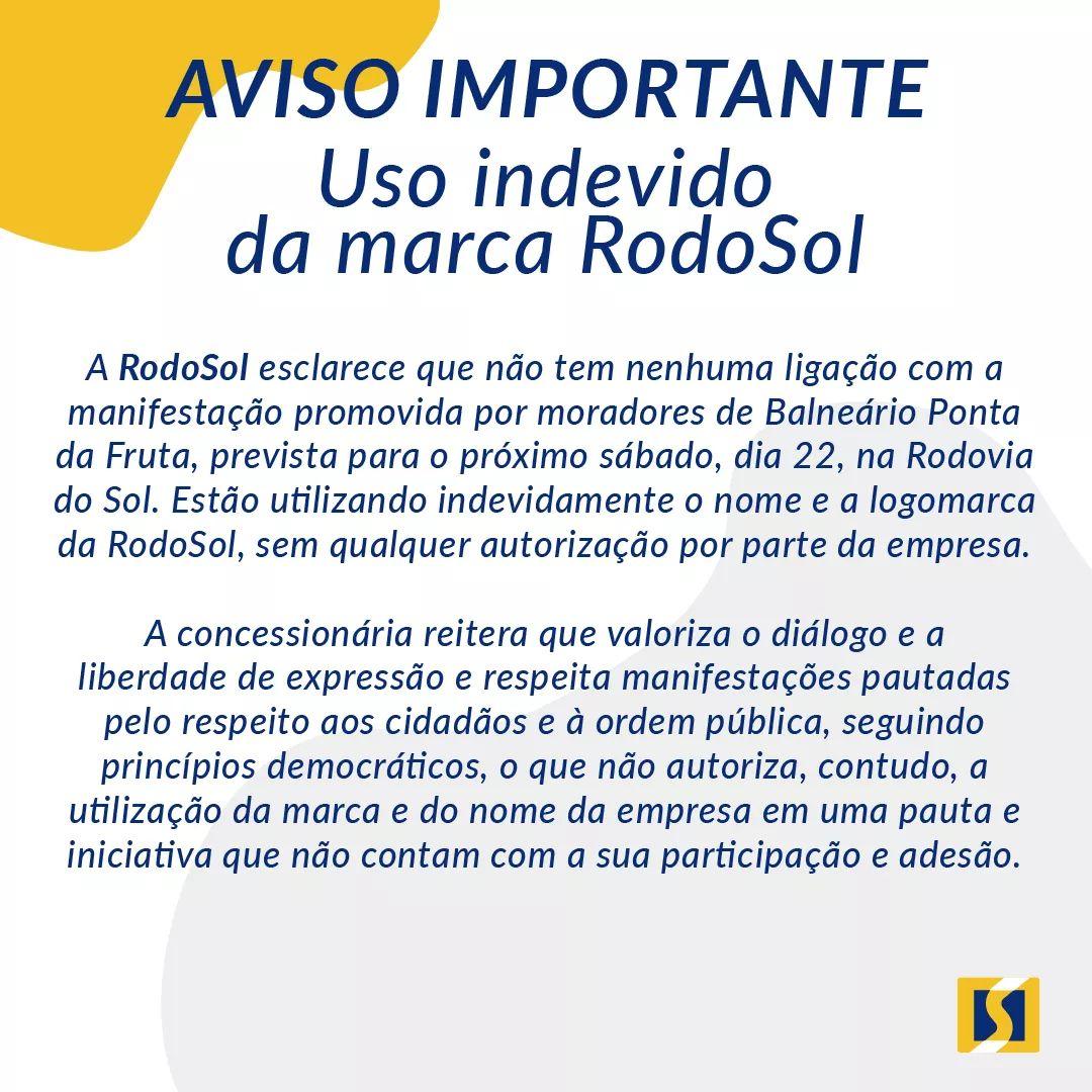 ⚠️ Nota de esclarecimento sobre uso indevido da marca RodoSol