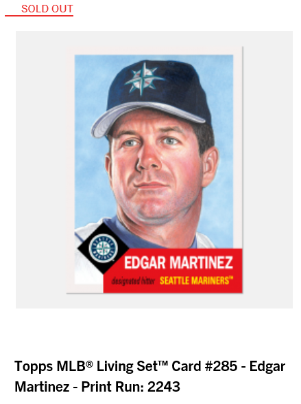 Print runs and ranking for Week 101 of the #ToppsLivingSet  #285 Edgar Martinez, Seattle Mariners - 2,243 #286 Brad Ziegler, Miami Marlins - 2,021