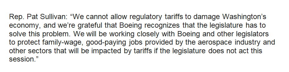 INBOX: #Waleg House and Senate to consider bills to suspend Boeing's preferential B&O tax rates to help resolve international trade dispute. Per @WASenDemocrats & @WAHouseDems