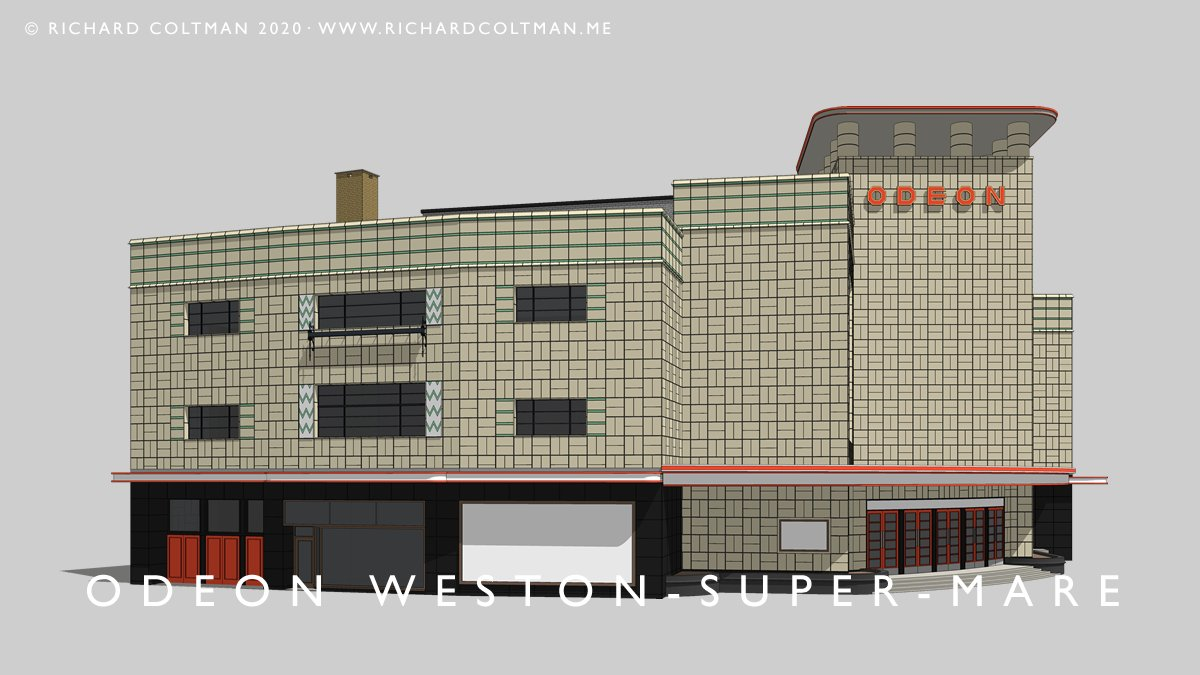 "My latest Sketchup 3D model is the Odeon Cinema Weston-super-Mare., by Thomas Cecil Howitt. Howitt's cube tower and faience clad facade was the first ""house"" style for the Odeon chain, pre-dating the Weedon-designed Odeons #odeon #cinema #westonsupermare #modernism #YourSketchUppic.twitter.com/iZ4z90nvhr"