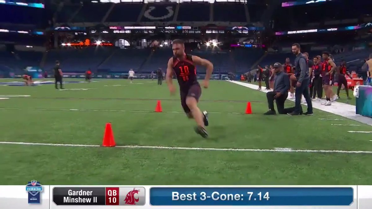 Before the Mania struck...  @GardnerMinshew5 did work at the 2019 Combine. 👨  📺: 2020 #NFLCombine starts Thursday 4pm ET on @nflnetwork