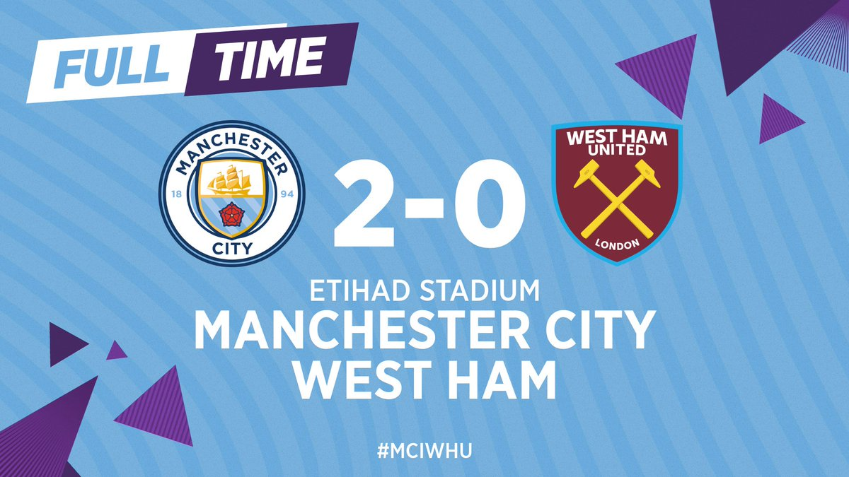 FULL-TIME | Goals from Rodrigo and @DeBruyneKev secures the three points for us! ⚽️⚽️  🔵 2-0 ⚒ #MCIWHU #ManCity