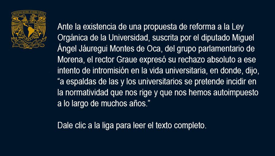 Replying to @UNAM_MX: #BoletínUNAM La UNAM informa >