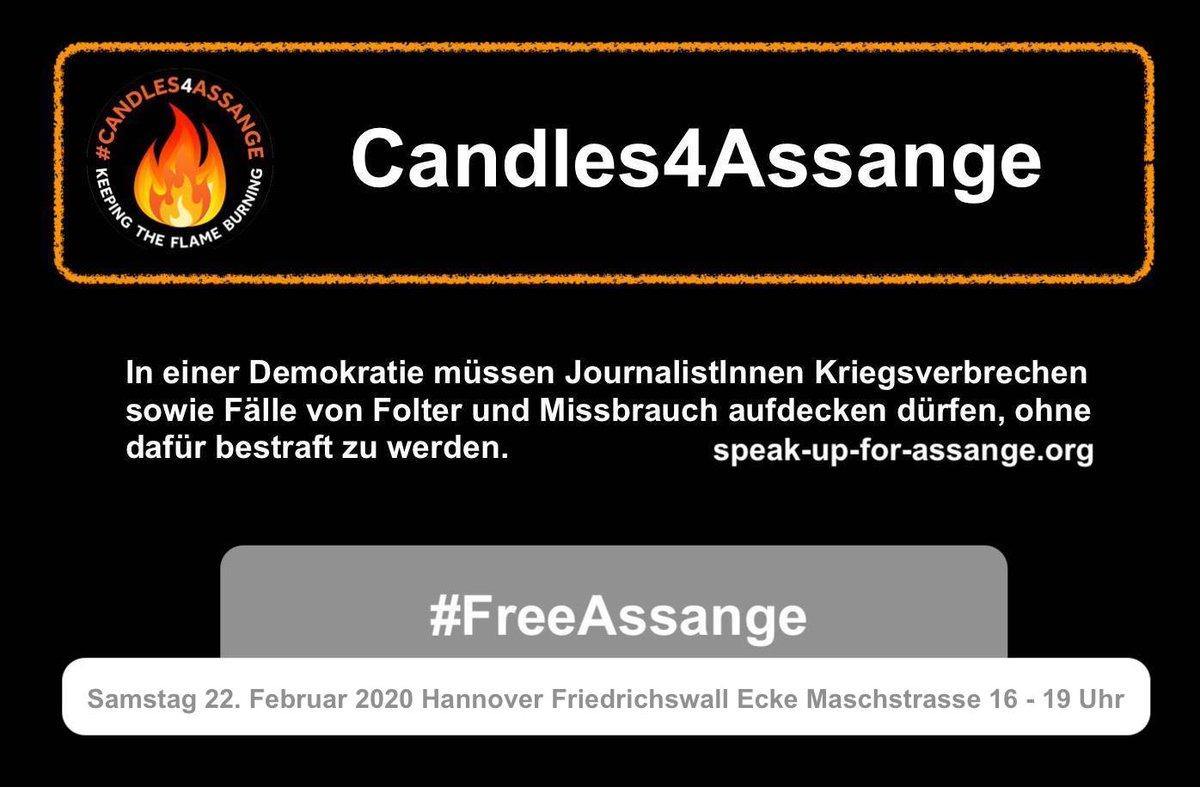 Am Samstag den 22. Februar 2020 findet in #Hannover von 16 bis 19 Uhr Friedrichswall Ecke Maschstraße eine #Candles4Assange Mahnwache statt.  Unsere Forderung lautet: #Freiheit für Julian #Assange!  #FreeSpeech #FreeAssange #FreiheitFürAssange #FreePress #NDS #Unity4FreeSpeechpic.twitter.com/5niRU8HMjK