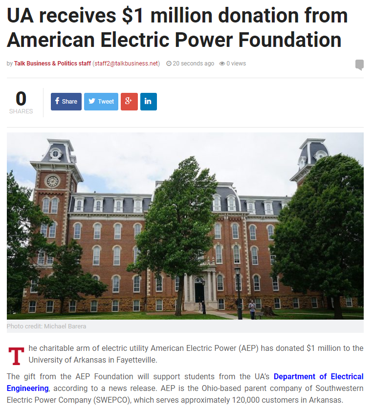 We're so grateful to @AEPnews for investing in our students' future! #electricalengineers #engineering #uark @NWABJ  . For FULL article --> https://talkbusiness.net/2020/02/ua-receives-1-million-donation-from-american-electric-power-foundation/?fbclid=IwAR1t7CnBIF3oz0ptI_r17Arl4ttbu99fnPh-DlUs9M_w_buaAu3m40rTynQ …pic.twitter.com/3pRXgVW37z