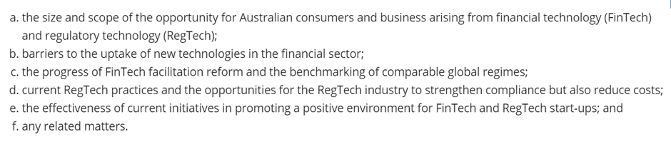 Today the Australian 'Senate Select Committee on Financial Technology & Regulatory Technology' are having public hearings from Organisations on the benefits of Fintech & Regtech across all industries. This Committee will present a final report in Oct 2020 covering the following pic.twitter.com/lJXxklv5wl