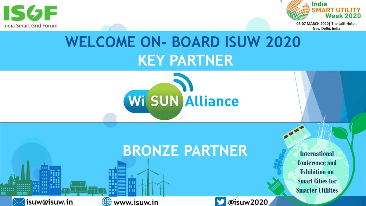 We welcome  our Key Partner @WiSunAlliance as Bronze Partner of #ISUW2020, an Conference and Exhibition from 03 - 07 March 2020 at The Lalit Hotel, New Delhi on #SmartEnergy and #SmartMobility for #SmartCities  Register now at link - http://www.isgw.in/isuw-registration-2020/…pic.twitter.com/n6Z8cJgK3t
