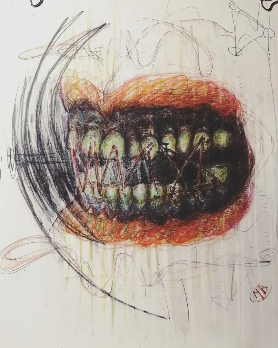 Stitches . Got mine off today. Freedom  . . #sketch #drawing #pencildrawing #coloredpencils #graphite #darkart #darksurrealism #surreal #conceptart #oddart #illustration #smile #teeth #bbbarpic.twitter.com/sS65xrZYiF