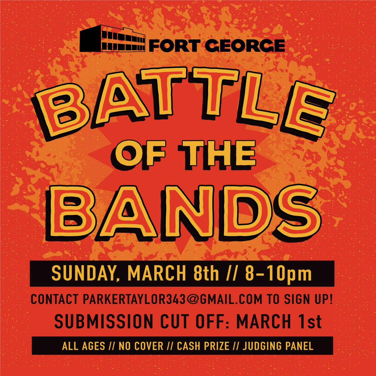 On March 8th, in lieu of Sunday Night Music, the Upstairs stage will open up to the public.  Fort George employee, Taylor, will be putting on a Battle of The Bands for her Senior Project. If you are interested in participating, please email parkertaylor343@gmail.com. pic.twitter.com/ybEOXWoJWx