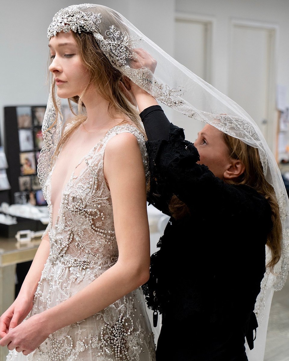 A glimpse behind the scenes at #ReemAcra creating magic. #ReemAcraWedding  Dress: 'Free Spirit'  Schedule an appointment at our NY Atelier:   #Wedding #Bride #Bridal #WeddingDress