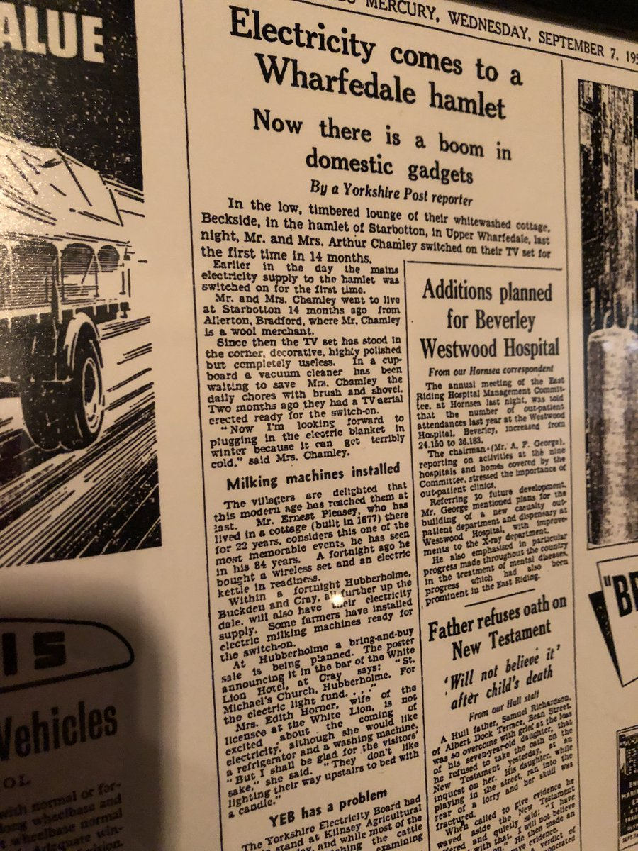 This is a cracking read mounted on the wall of @craywhitelion — @yorkshirepost and Leeds Mercury from 1955 — electricity reaches the top end of Wharfedale — @JayMitchinson @timsmithyorks @dannysavage
