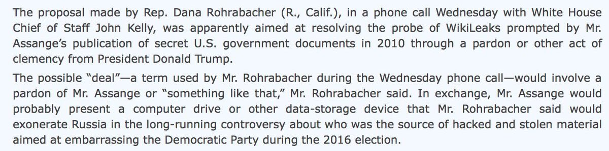 """And the next month (9/17), WSJ reported that Rohrabacher made the proposal on a phone call with John Kelly. The """"deal"""" would involve granting Julian Assange a pardon """"or something like that"""" in exchange for evidence that would exonerate Russia."""