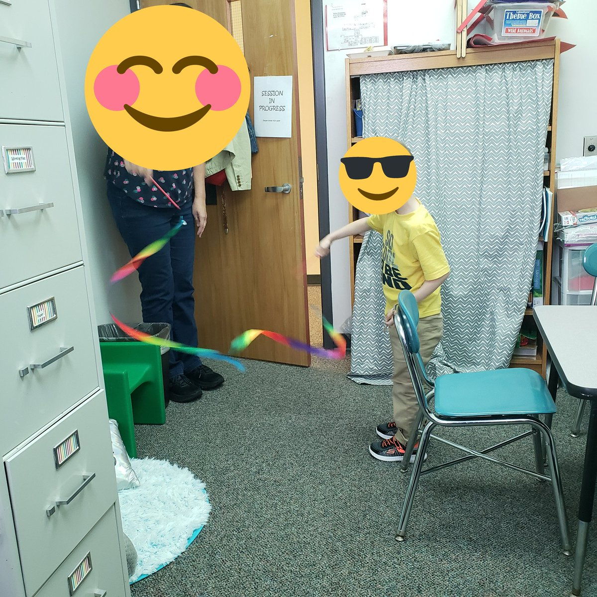 #TodayinOT  my fieldwork level II student worked on gross motor movements of the arms and making shapes and letters with a ribbon. #OccupationalTherapy  #schoolOT