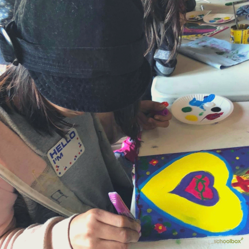 """February 14th was El Dia del Amor y la Amistad, the """"day of love & friendship."""" In our Tijuana program, this particular group of kiddos are usually very eager to focus on academic lessons, but they ended up loving this special day of live music, painting & cupcakes w/ friends!"""