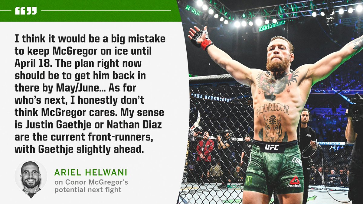 Helwani thinks McGregor should return sooner rather than later (via @arielhelwani)