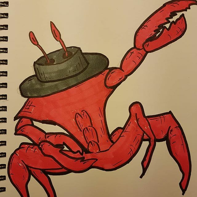 A fab crab with abs tries to dab... He would have actually dabbed but I drew him wrong. Anyway I'm doing some stand up tomorrow evening in Brixton at the queen's head from 8 #doodle #silly #jokeaday #crabs #abs #fab #fabulous #dab #crustaceans