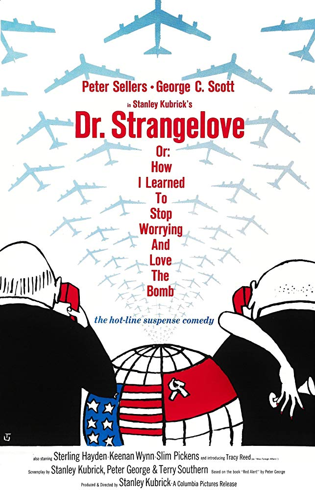 DR. STRANGELOVE (1964) Peter Sellers, George C Scott, Sterling Hayden. Dir: Stanley Kubrick 5:00 PM PT    A deranged Air Force general orders a nuclear air strike against Russia.  B/W, 95 mins, CC, #comedy #TCM pic.twitter.com/eTmiEsc24w