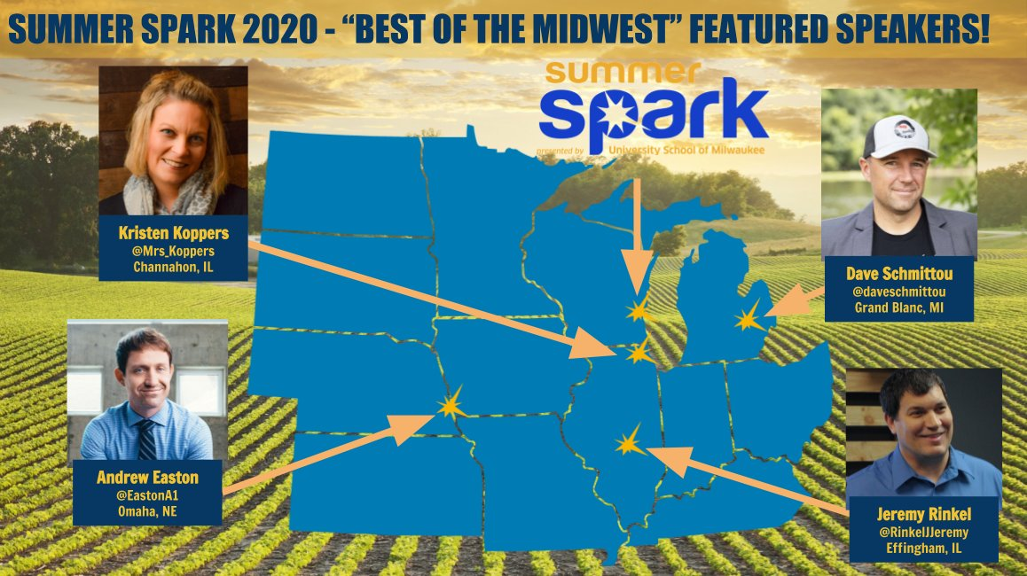 Check out this crew of awesome PD giants from the great Midwest, all sowing their EDU knowledge at #USMSpark!  @Mrs_Koppers @RinkelJeremy @EastonA1 @daveschmittou #edchat #satchat #sunchat #leadership #edtech #DITeaching #Edumatch #teaching