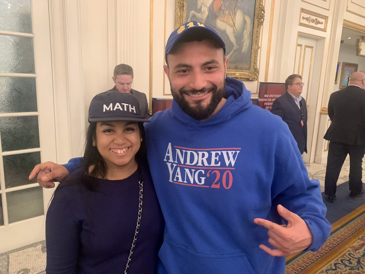 """Some dedicated @AndrewYang supporters at the Vegas #DemDebate Emilio Medina: """"His entire movement is bigger than the the presidency."""" """"It's larger than him. It's about his movement"""" -Hannah Won. """"We're trying to get people to vote for him to show there's support for his ideas"""""""
