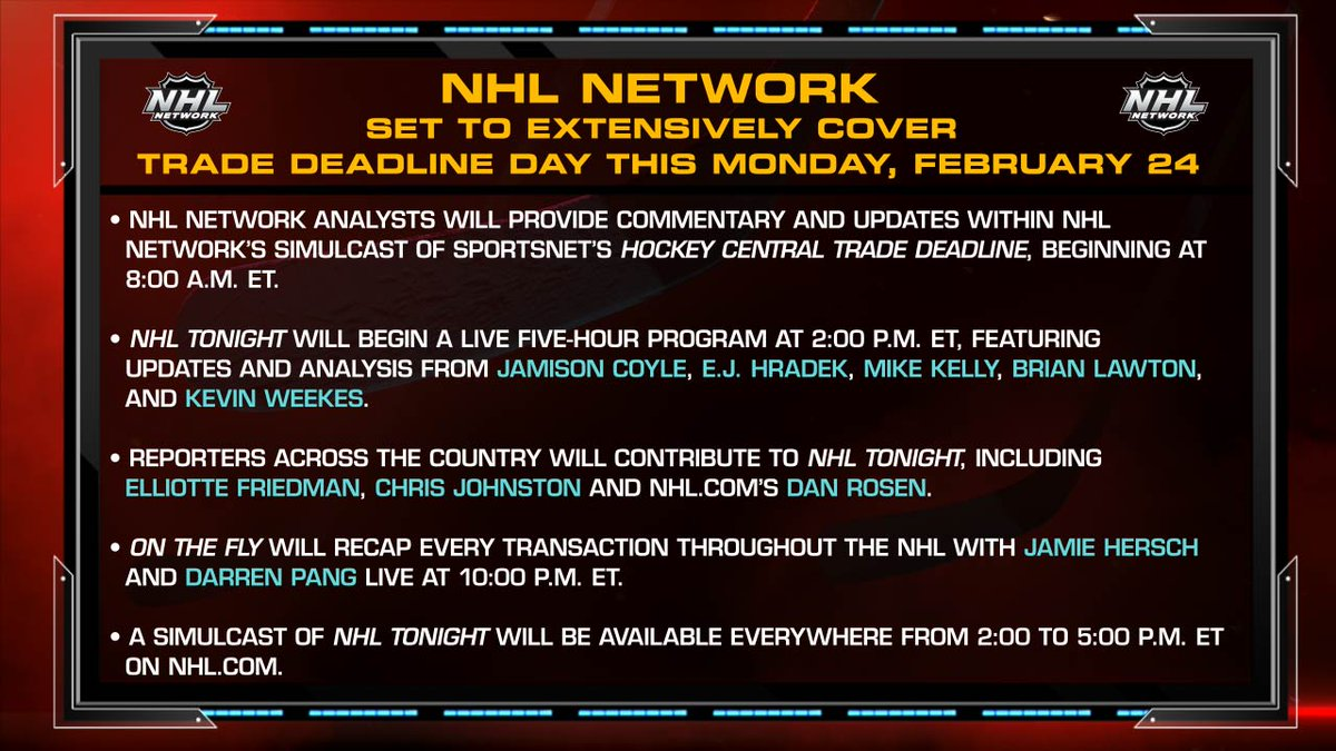 The #NHLTradeDeadline is MONDAY! We've got you covered.