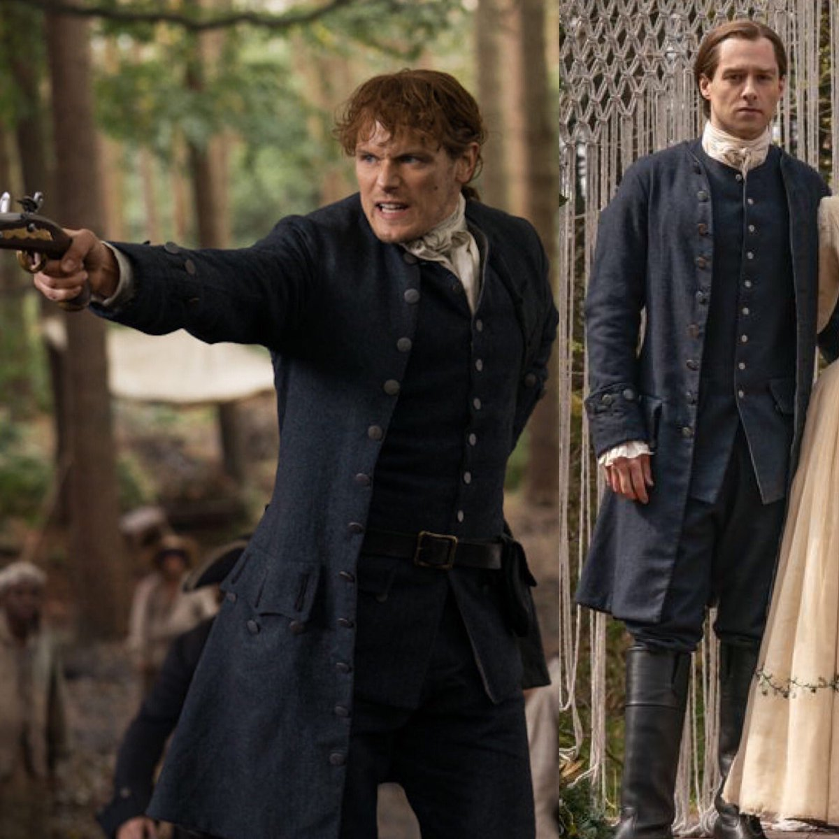 The awesome folks @Outlander_STARZ gave us some S5E1 tidbits today and one was how @SamHeughan and @RikRankin wore the same outfit in different seasons. I obviously obsessed over this today and voila, I give you #TheFrasers a season apart.  #OutlanderS5 #bestcostumes ❤️