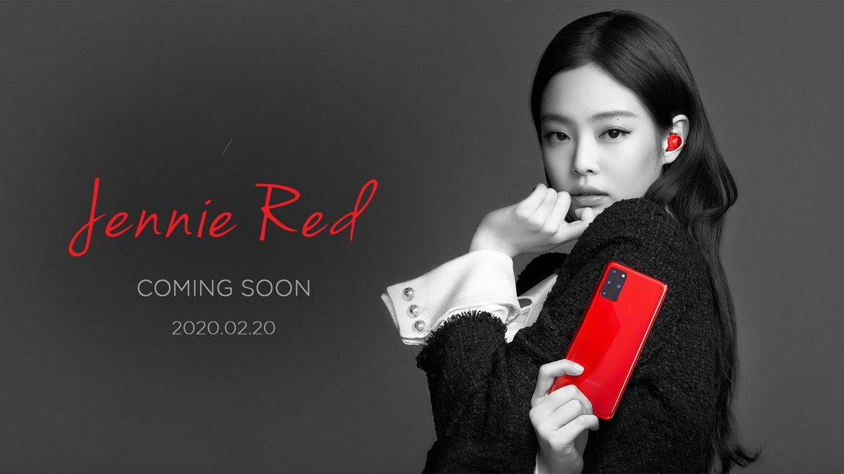 JENNIE is RED. Say it's red, it's Jennie. If it's Jennie, it's red.   #COMINGSOON #GALAXYS20 #JENNIE #RED #SAMSUNGpic.twitter.com/71Z4XVDGCm
