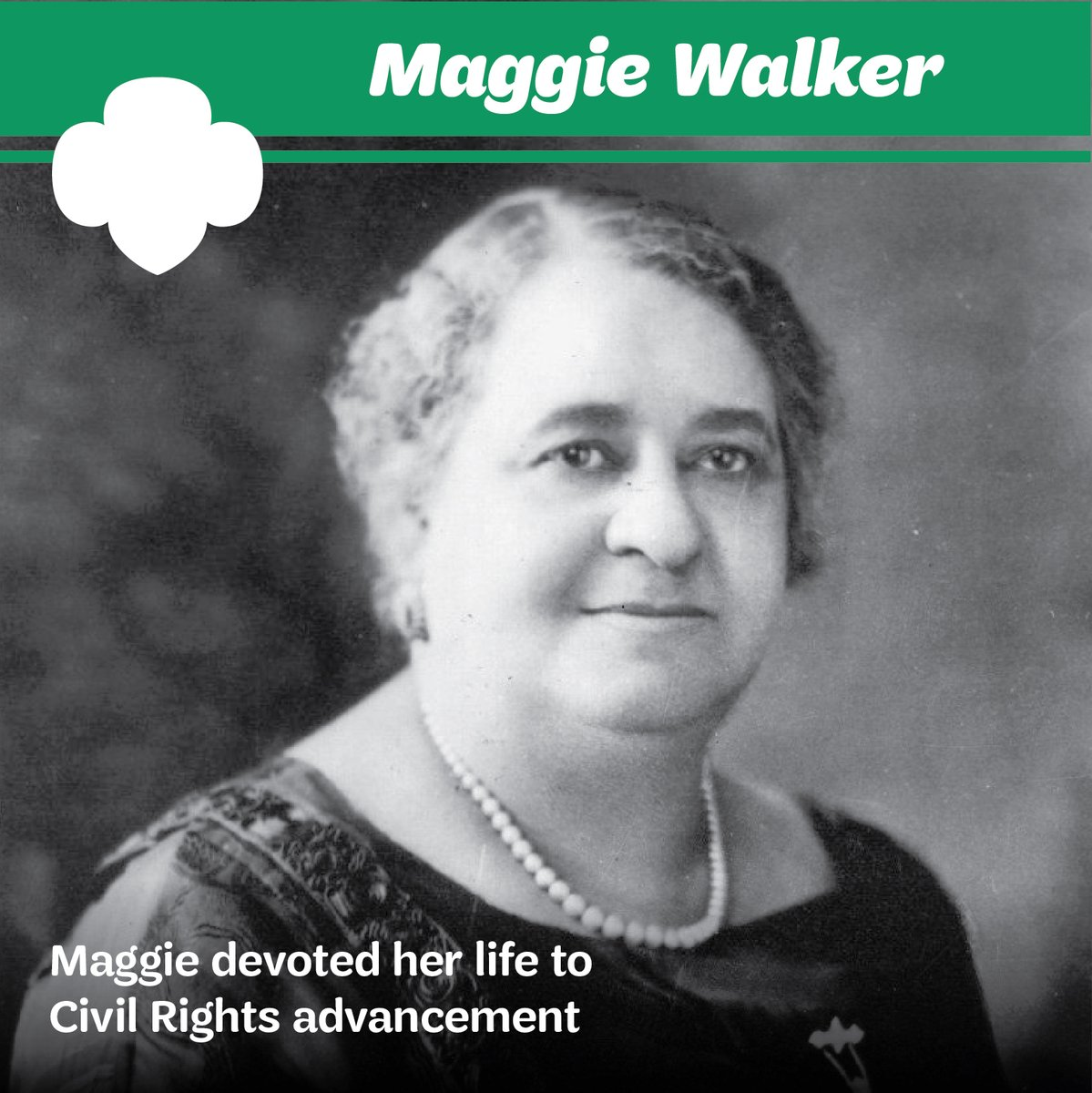 Maggie Walker devoted her life to civil rights advancement for Jim Crow-era African Americans and women. Maggie was instrumental in the creation of the first African-American troop south of the Mason-Dixon Line. Today, we honor her enduring legacy of courage, and determination.pic.twitter.com/LMmPOAGw87