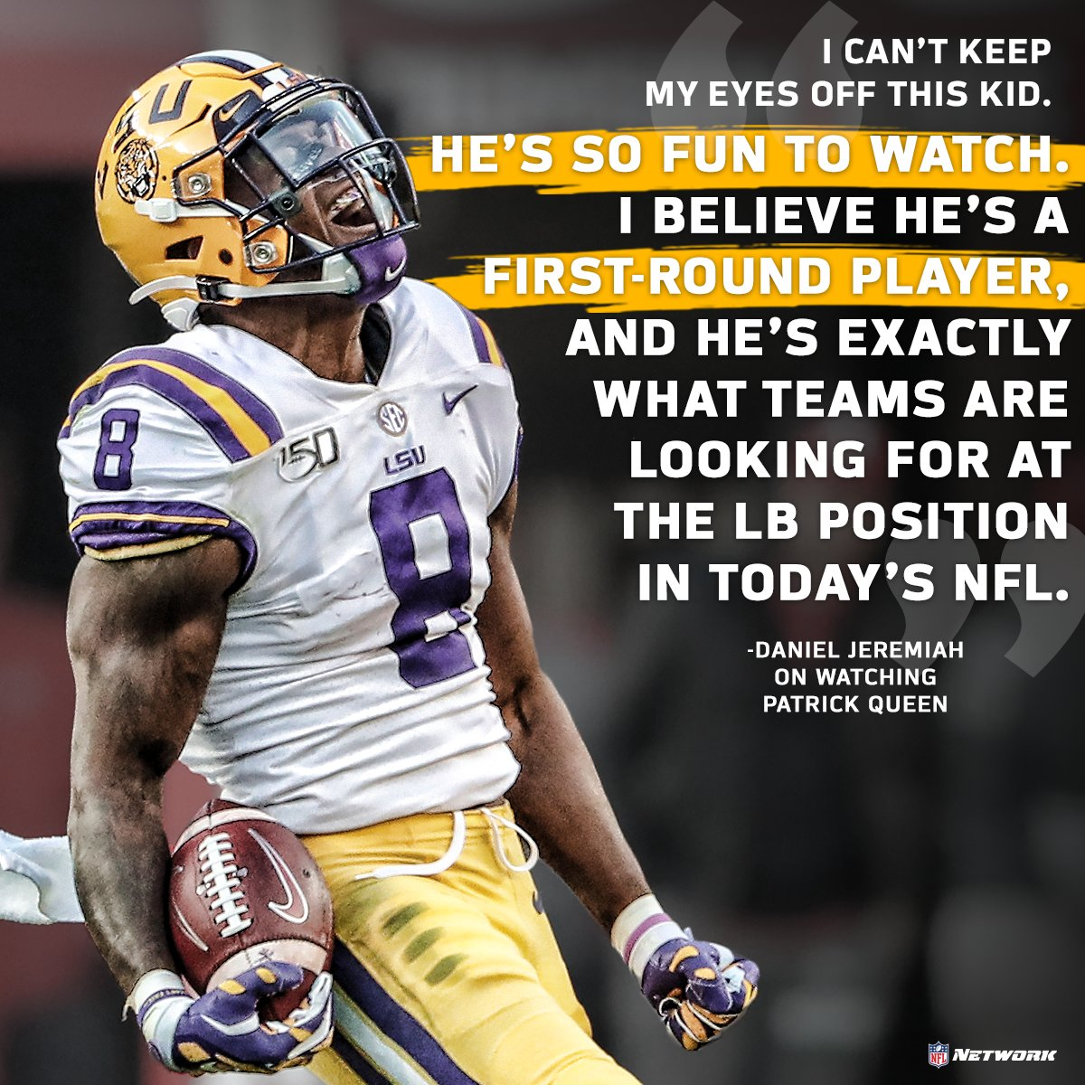 Keep your 👀 on Patrick Queen. @MoveTheSticks | @LSUFootball